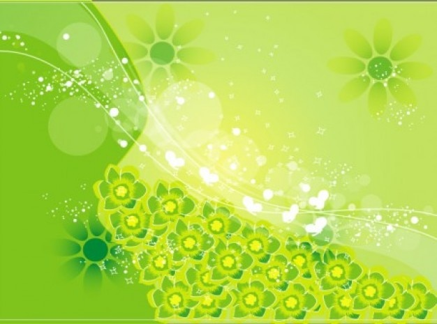 Fleurs vertes de fond brillant abstrait