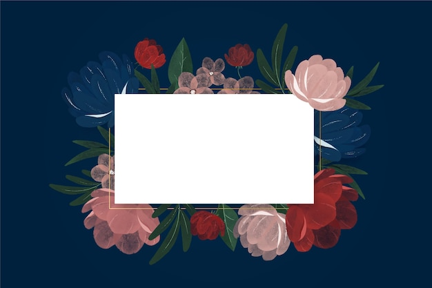 Fleurs vintage aquarelle avec cadre blanc