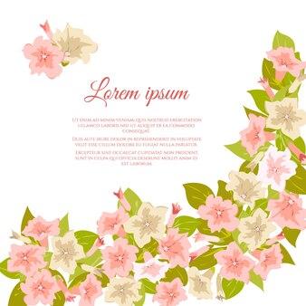 Fleurs vintage pastels roses autour d'un fond blanc