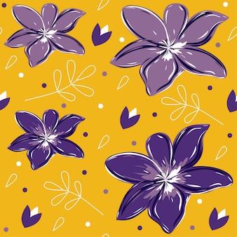 Fleurs violettes sur motif jaune