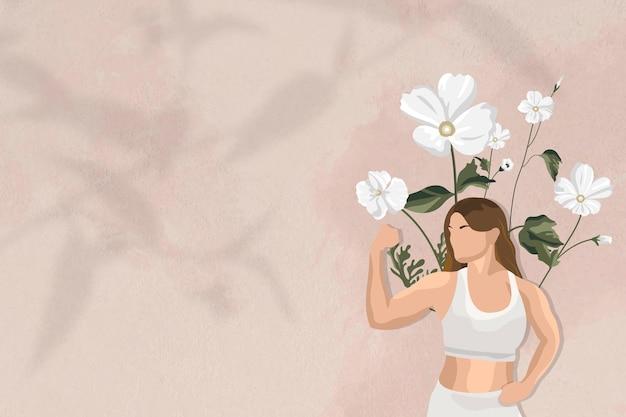 Flexion des muscles frontière vecteur fond avec illustration de femme yoga floral
