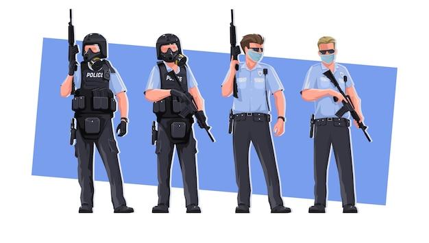 Flics, dans des poses différentes. policier de caractère stylisé et ultimaptique élégant avec des armes, dans des vêtements spéciaux. défenseurs de la loi et de l'ordre. sur fond blanc.