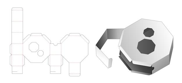 Flip boîte octogonale avec 2 fenêtres gabarit découpé