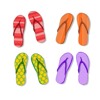 Flip flops icon pantoufles d'été foot wear set collection