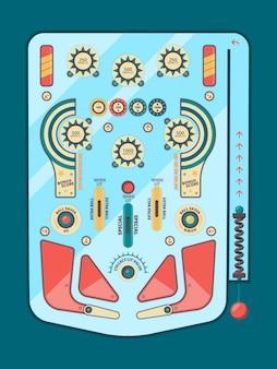 Flipper. boule de jeu drôle grève de rechange émotions enfance boules bouton modèle de tableau de flipper décoratif. activité de machine d'illustration jouant, jeu de flipper d'équipement