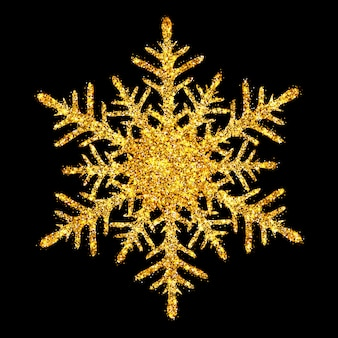 Flocon de neige brillant doré