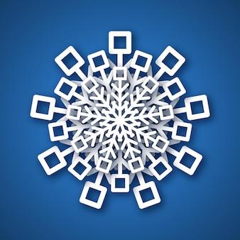 Flocon de neige découpé en papier. flocon de neige blanc sur fond bleu. éléments de décoration de noël et du nouvel an. illustration vectorielle