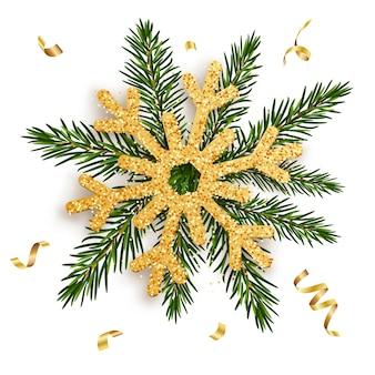 Flocon de neige doré sur les branches d'un sapin avec des rubans d'or