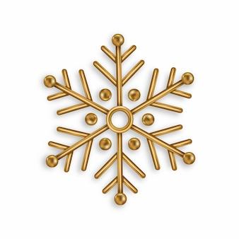 Flocon de neige doré vecteur isolé sur fond blanc