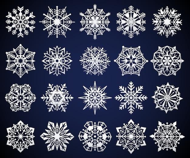 Flocon de neige. éléments de cristal de neige de noël d'hiver, ornement de pictogramme d'étoile froide congelée, symbole glacé de flocons de neige givrés, ensemble de flocons géométriques festifs en cristal