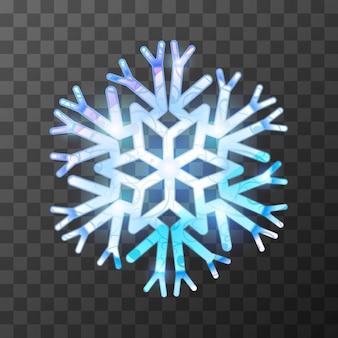 Flocon de neige glacé coloré avec une lumière vive et des reflets