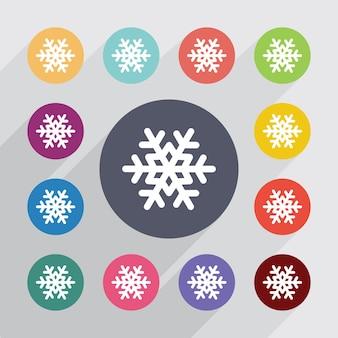 Flocon de neige, jeu d'icônes plat. boutons colorés ronds. vecteur