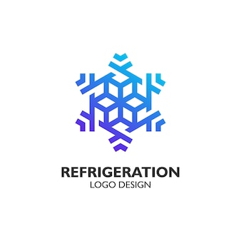 Flocon de neige de luxe avec style d'art en ligne pour la conception de logo de réfrigération