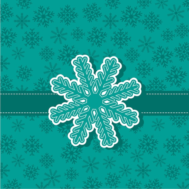 Flocon de neige mignon sur fond bleu-vert