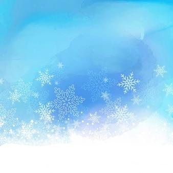 Flocon de neige de noël sur un fond d'aquarelle