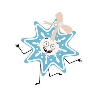 Flocon de neige de noël mignon avec des émotions heureuses, danse, sourire, mains et pieds. décoration festive joyeuse du nouvel an avec des yeux