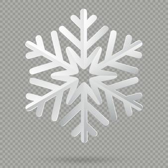 Flocon de neige de noël en papier plié réaliste blanc avec ombre isolé sur fond transparent.