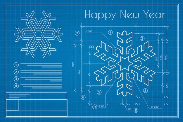 Flocon de neige de projet d'hiver de noël sur la carte postale de croquis bleu de nouvel an