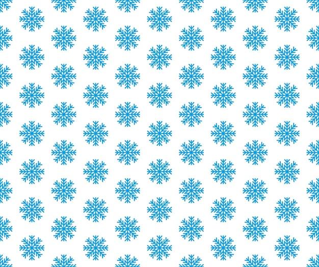 Flocon de neige simple modèle sans couture bleu neige sur fond blanc
