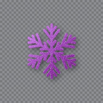 Flocon de neige violet pailleté. élément de design décoratif de noël. décoration pour les vacances du nouvel an. isolé sur fond transparent. illustration vectorielle.