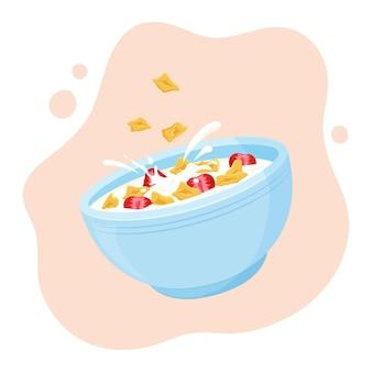 Flocons d'avoine avec bol en céramique à la fraise