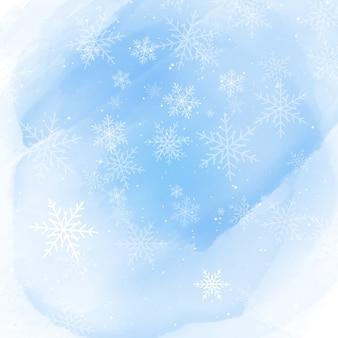 Flocons de neige de noël sur fond d'aquarelle