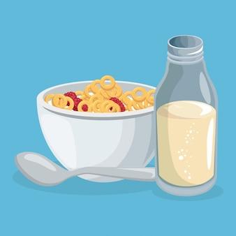 Flocons de maïs et lait délicieux plats du petit déjeuner