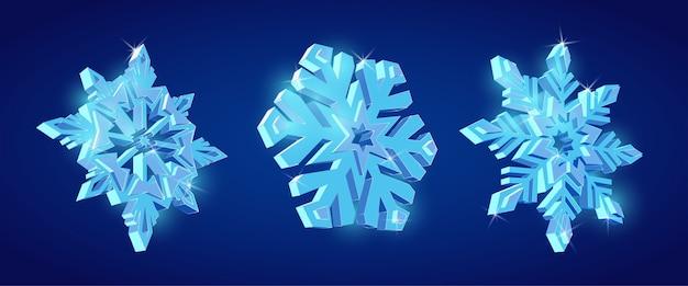 Flocons de neige 3d, ensemble de flocons de neige décoratifs, bel ensemble de flocons de neige brillants.