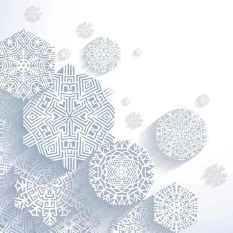 Flocons de neige abstraits 3d, illustration vectorielle