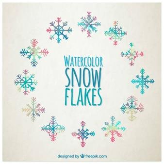 Flocons de neige aquarelle dans le style coloré