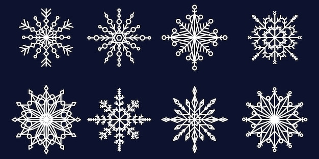 Flocons de neige blancs de toutes formes