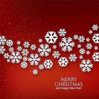 Flocons de neige de célébration de noël décoratifs sur rouge