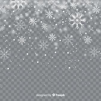 Flocons de neige chute réaliste en arrière-plan transparent