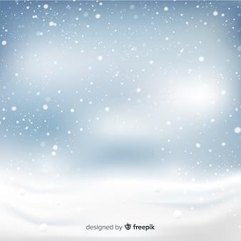 Flocons de neige chute réaliste sur fond de ciel