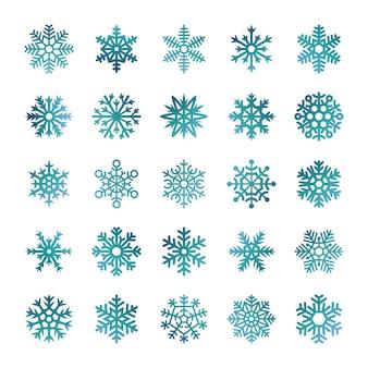 Flocons de neige colorés isolés sur fond blanc