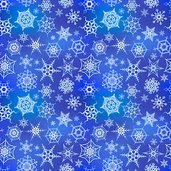 Flocons de neige congelés blancs sur fond bleu hiver, modèle sans couture