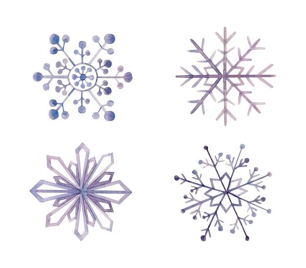 Flocons de neige décoratifs aquarelle isolés sur blanc