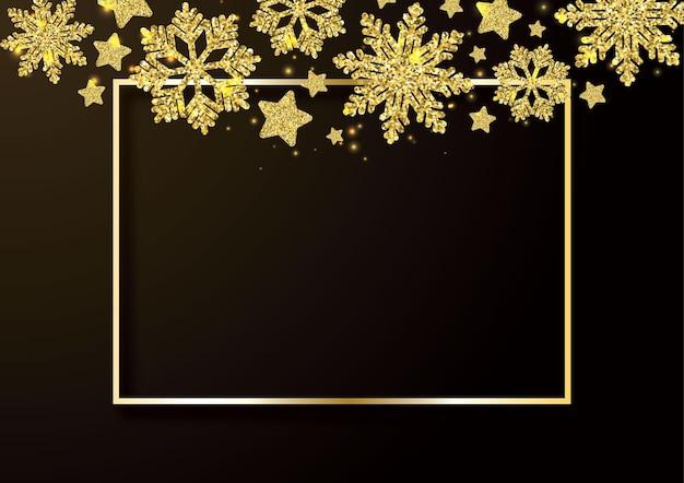 Flocons de neige dorés tombant sur fond noir bordure de flocons de neige dorés avec différents ornements de luxe