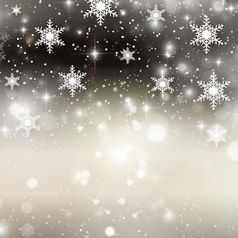 Flocons de neige sur un fond argent brillant bokeh