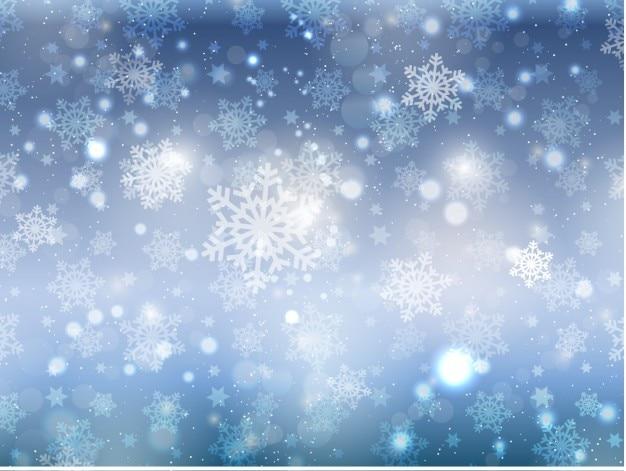 Flocons de neige sur un fond de bokeh