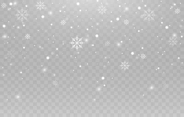 Flocons de neige sur fond isolé