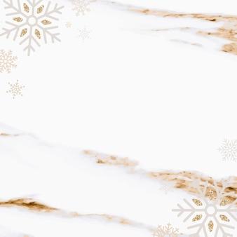 Flocons de neige sur fond de marbre, style de luxe