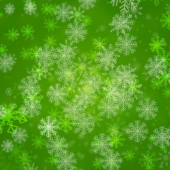 Flocons de neige sur fond vert