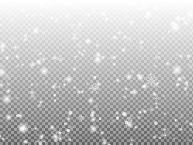 Flocons de neige de noël sur fond sombre. décoration transparente de chutes de neige. chutes de neige magiques blanches
