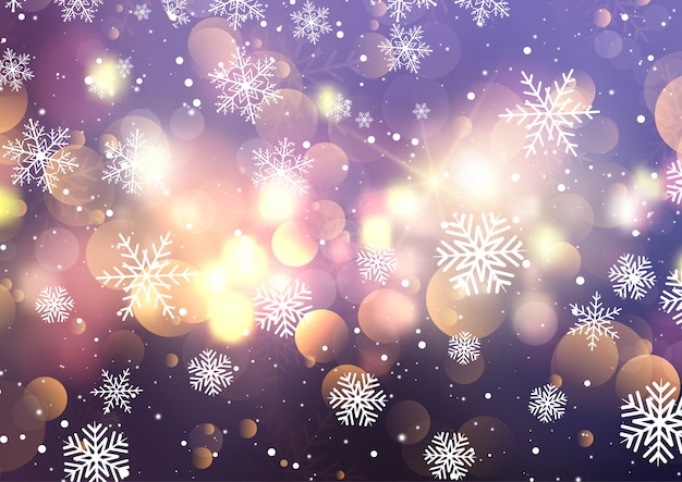 Flocons de neige de noël et des lumières de bokeh
