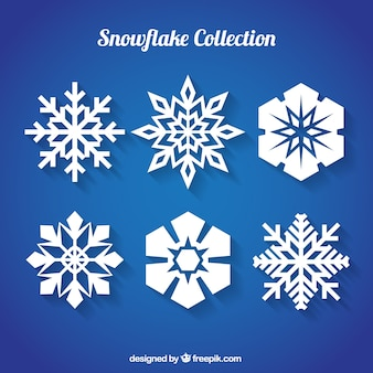 Flocons de neige plates avec des conceptions différentes