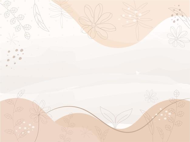 Floral abstrait de couleur beige et blanche.