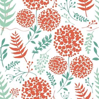 Floral abstrait avec des feuilles de fougère vert et rouge