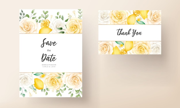 Floral aquarelle d'été avec carte de mariage botanique citron fruit