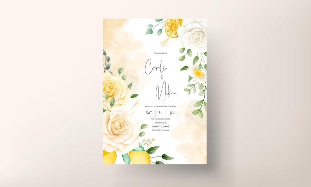 Floral aquarelle d'été avec jeu de cartes de mariage botanique citron fruit